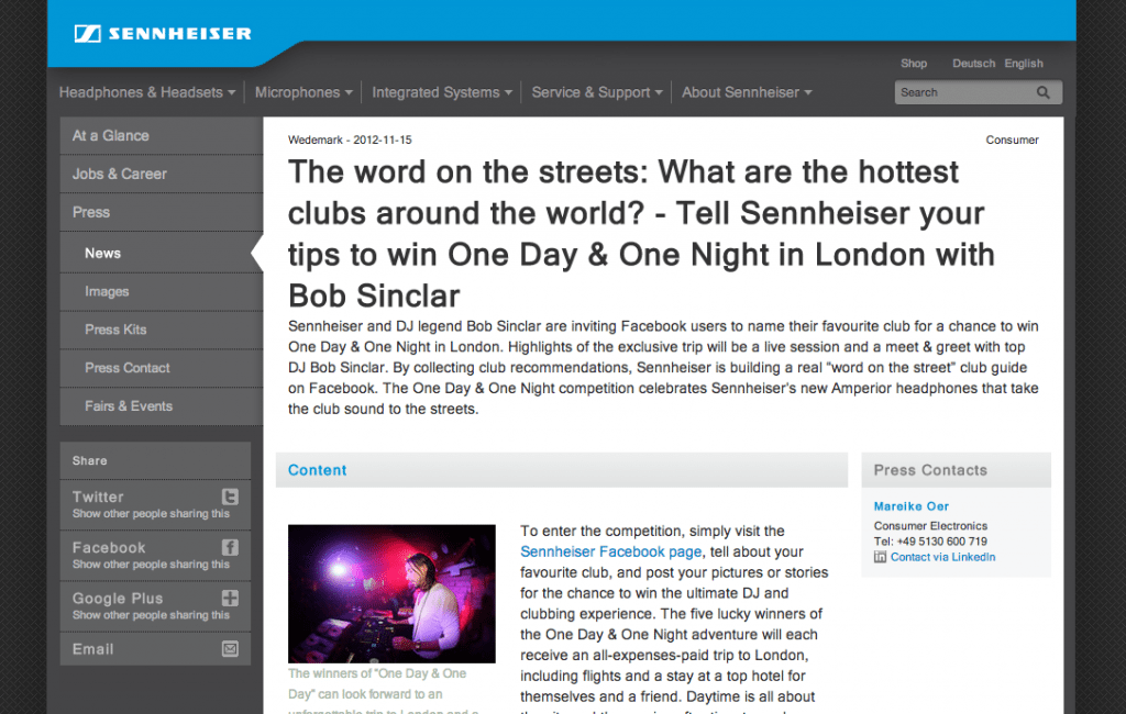 Screenshot of Sennheiser News Page with Social Sharing Tools